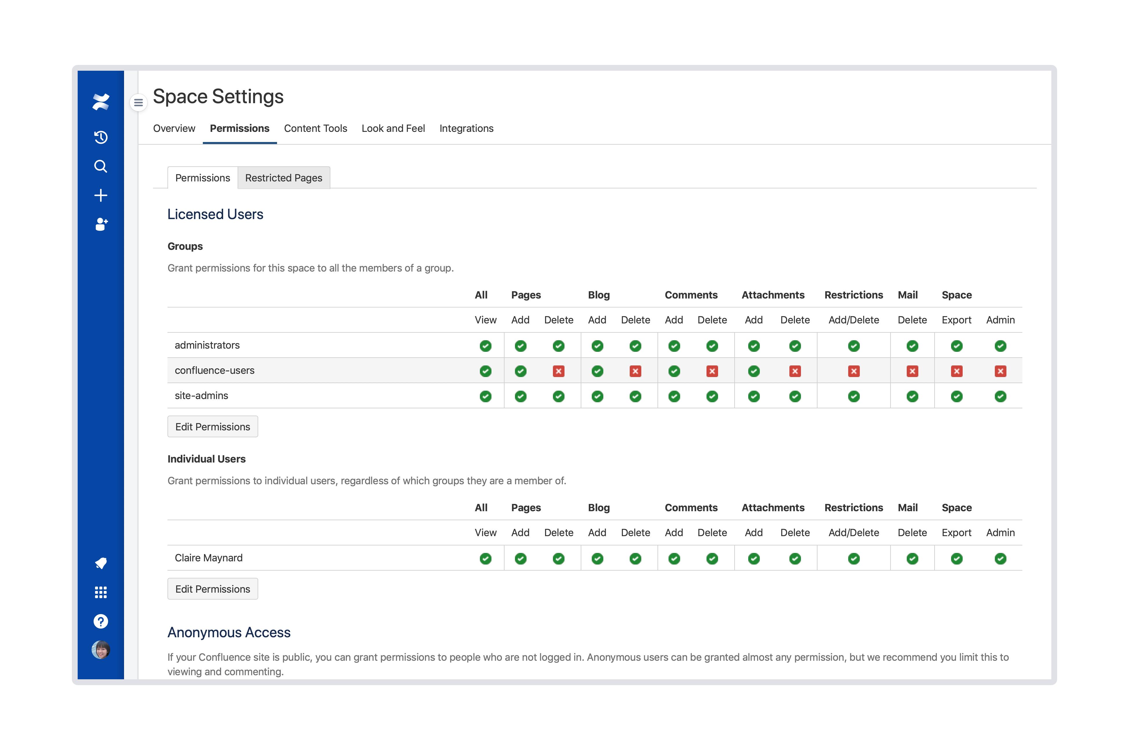 Captura de pantalla de permisos de espacio y página