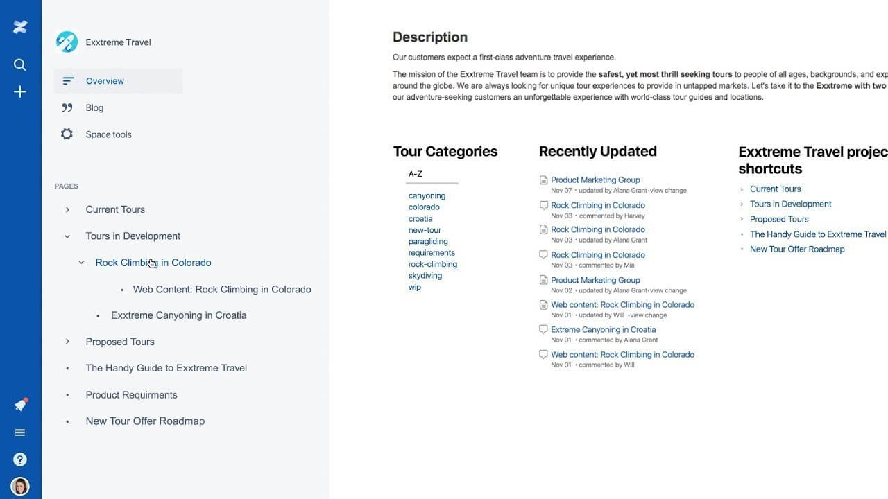 Search and organize spaces in Confluence