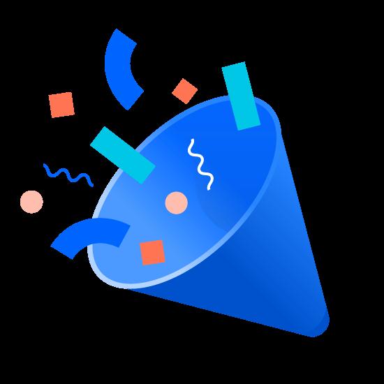Ilustrație prezentând petrecere cu confetti