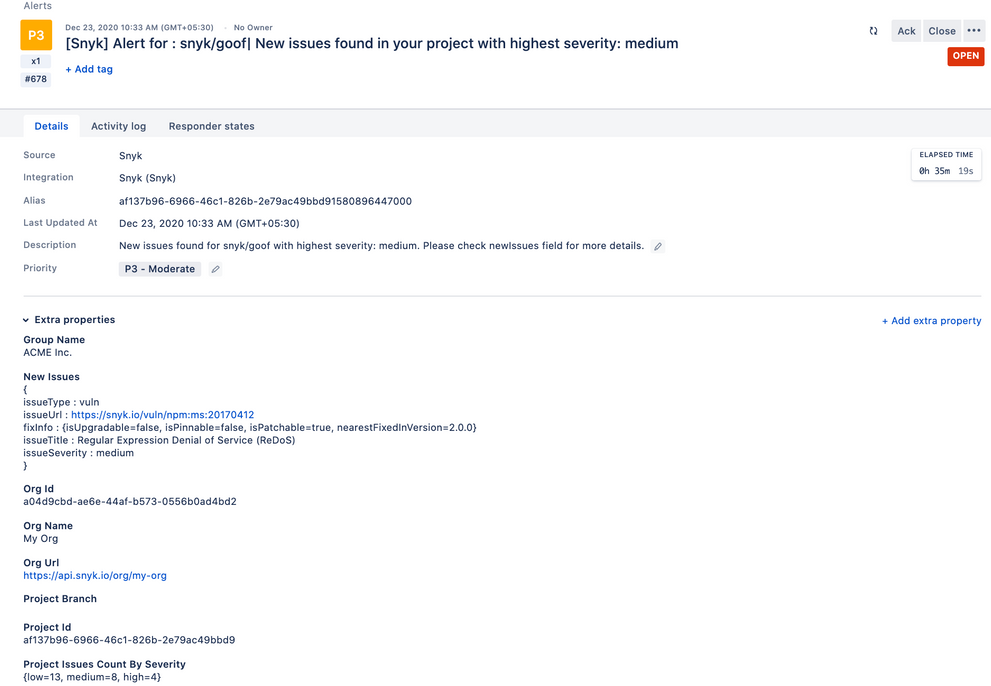 Snyk security automation integration within Opsgenie