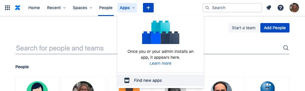Screenshot of Confluence apps