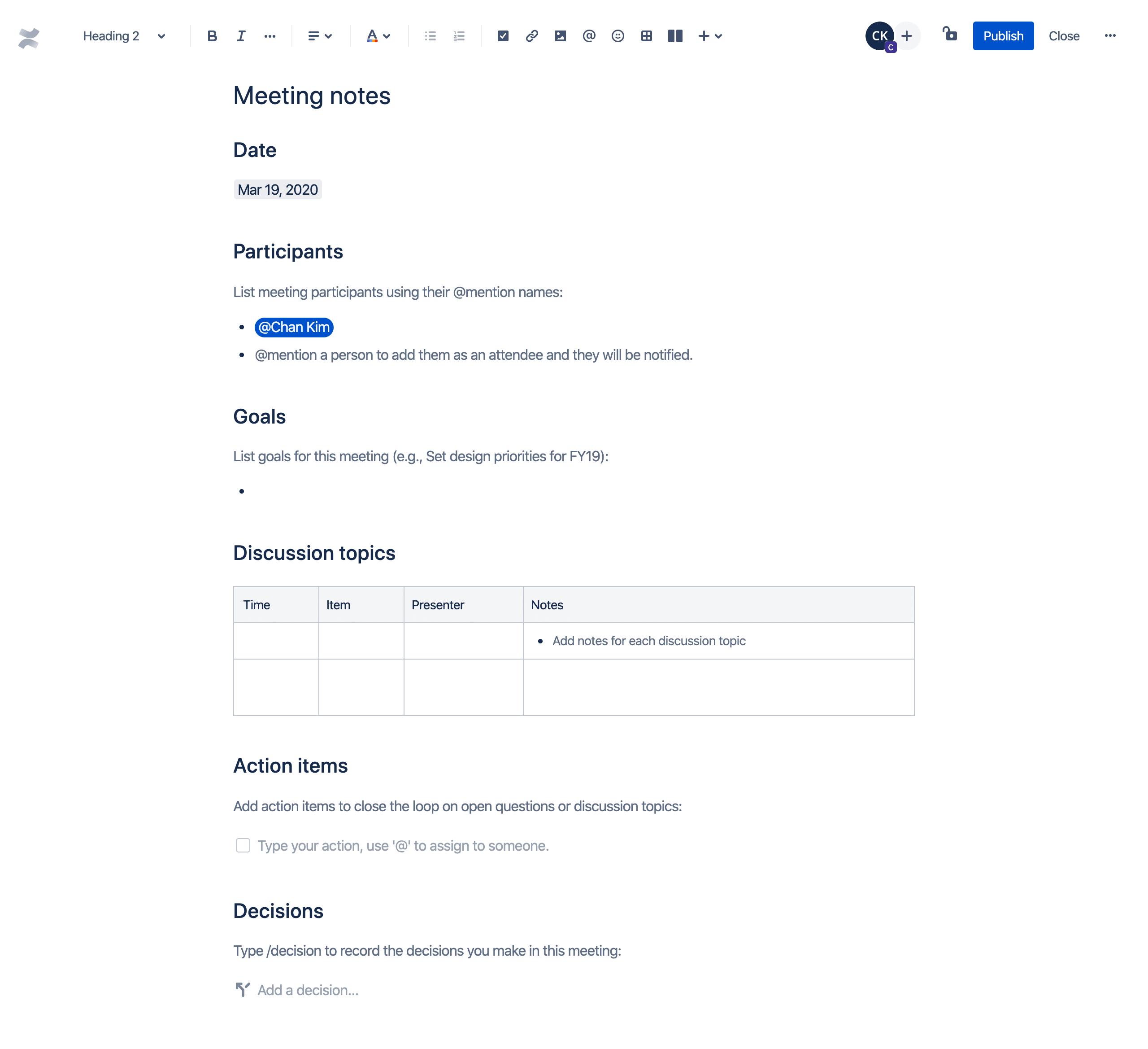 Modèle de notes de réunion