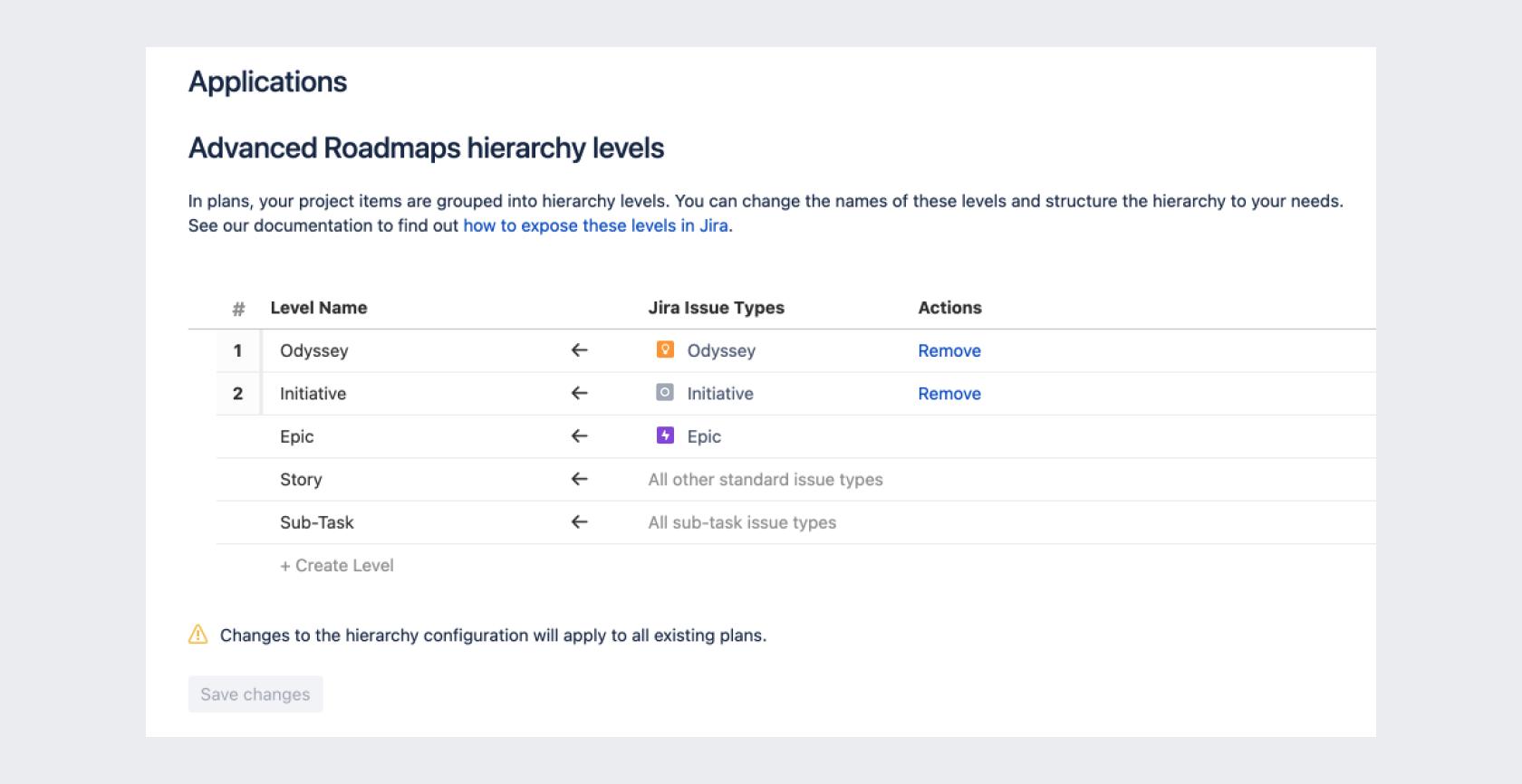 Configurar los niveles de una jerarquía en Advanced Roadmaps