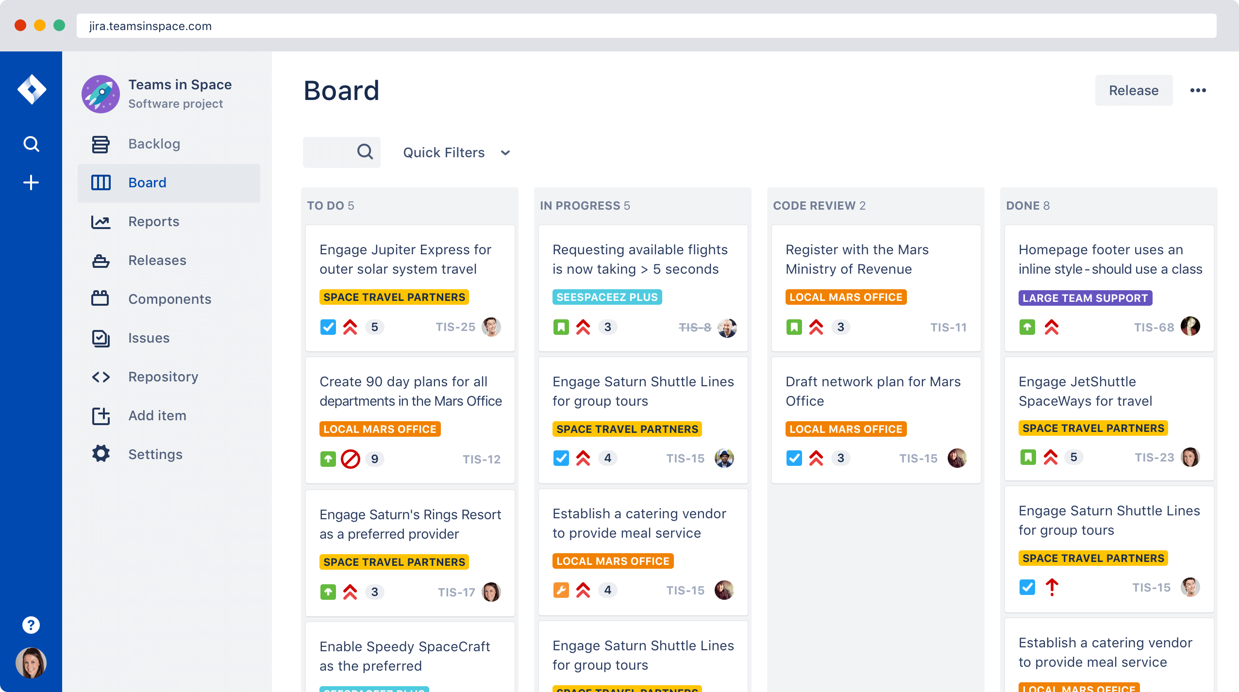 Jira Hub which displays as backlog of tasks