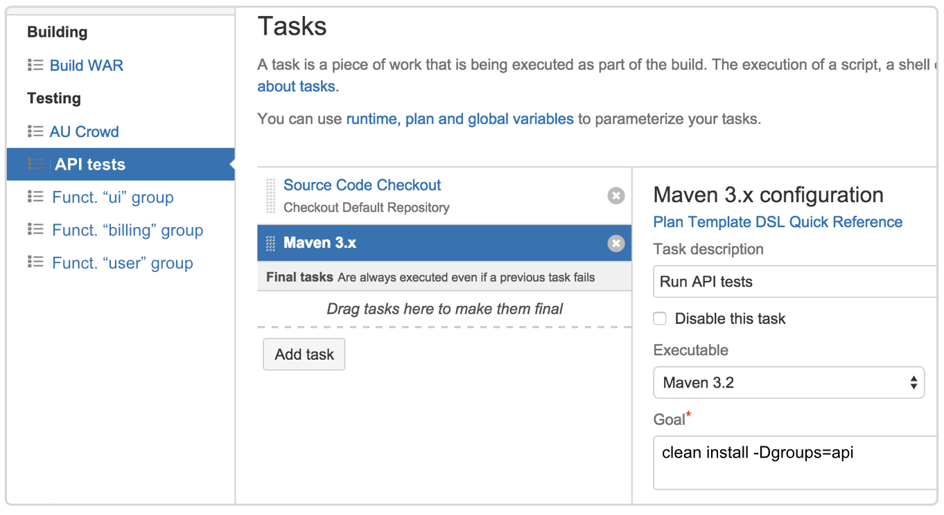 Parallel testing jobs screenshot