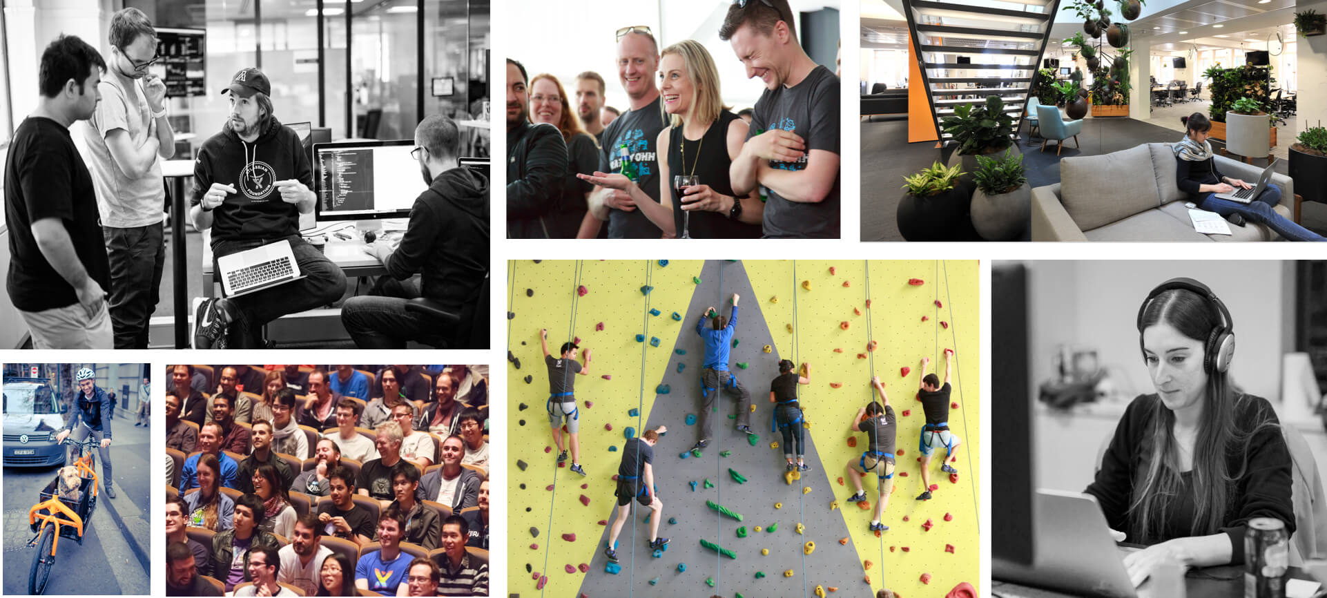 Collage de fotos de empleados de Atlassian
