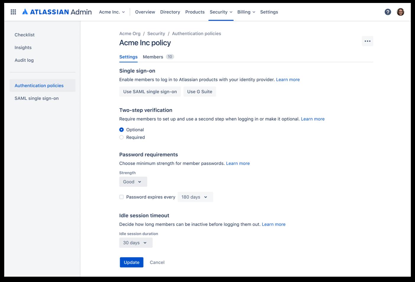 Authentication policies screenshot