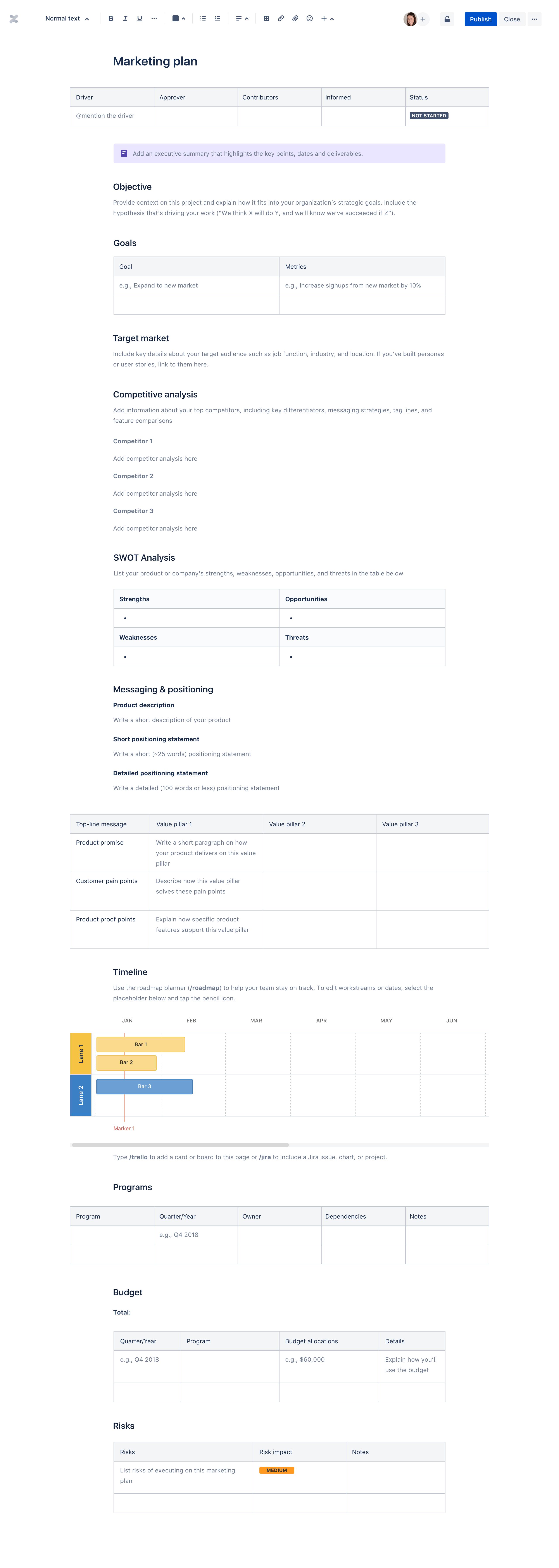 Markkinointisuunnitelman sivupohja
