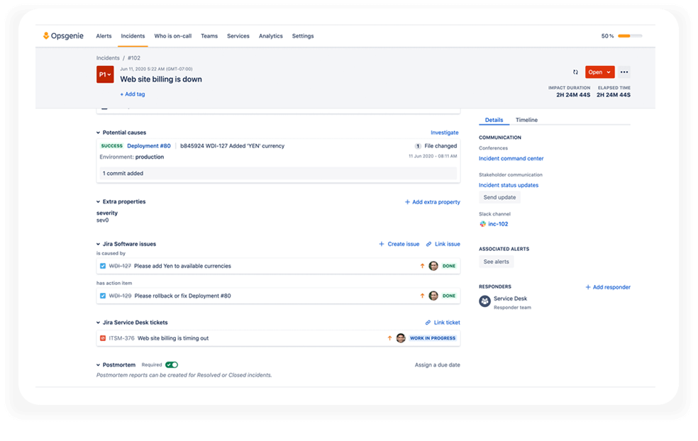 Jira Service Management integration screenshot