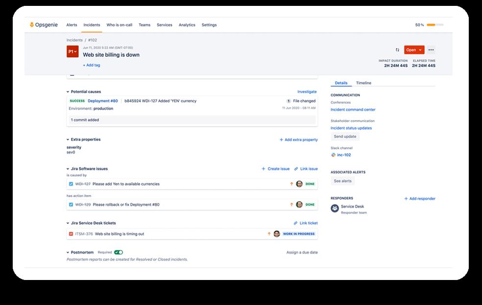 Jira Service Management integration screenshot