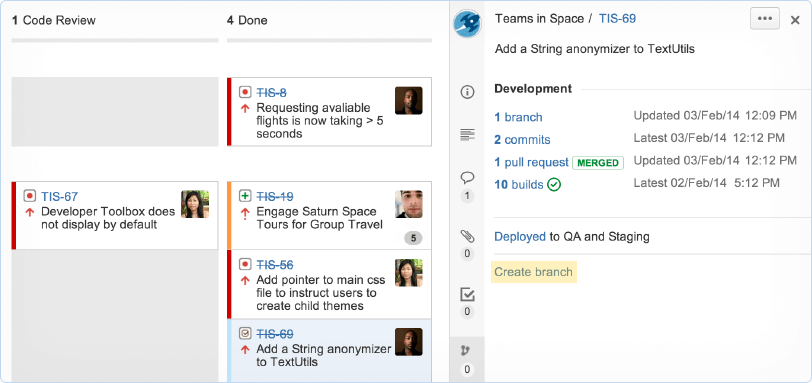 Screenshot van Jira-bord