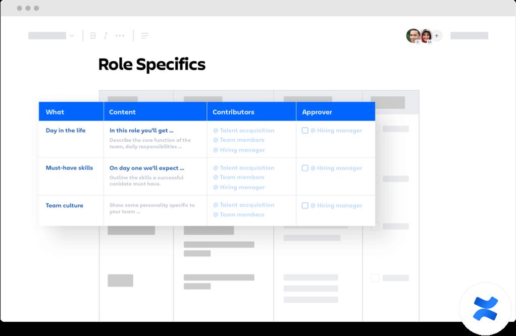 Role specifics confluence template