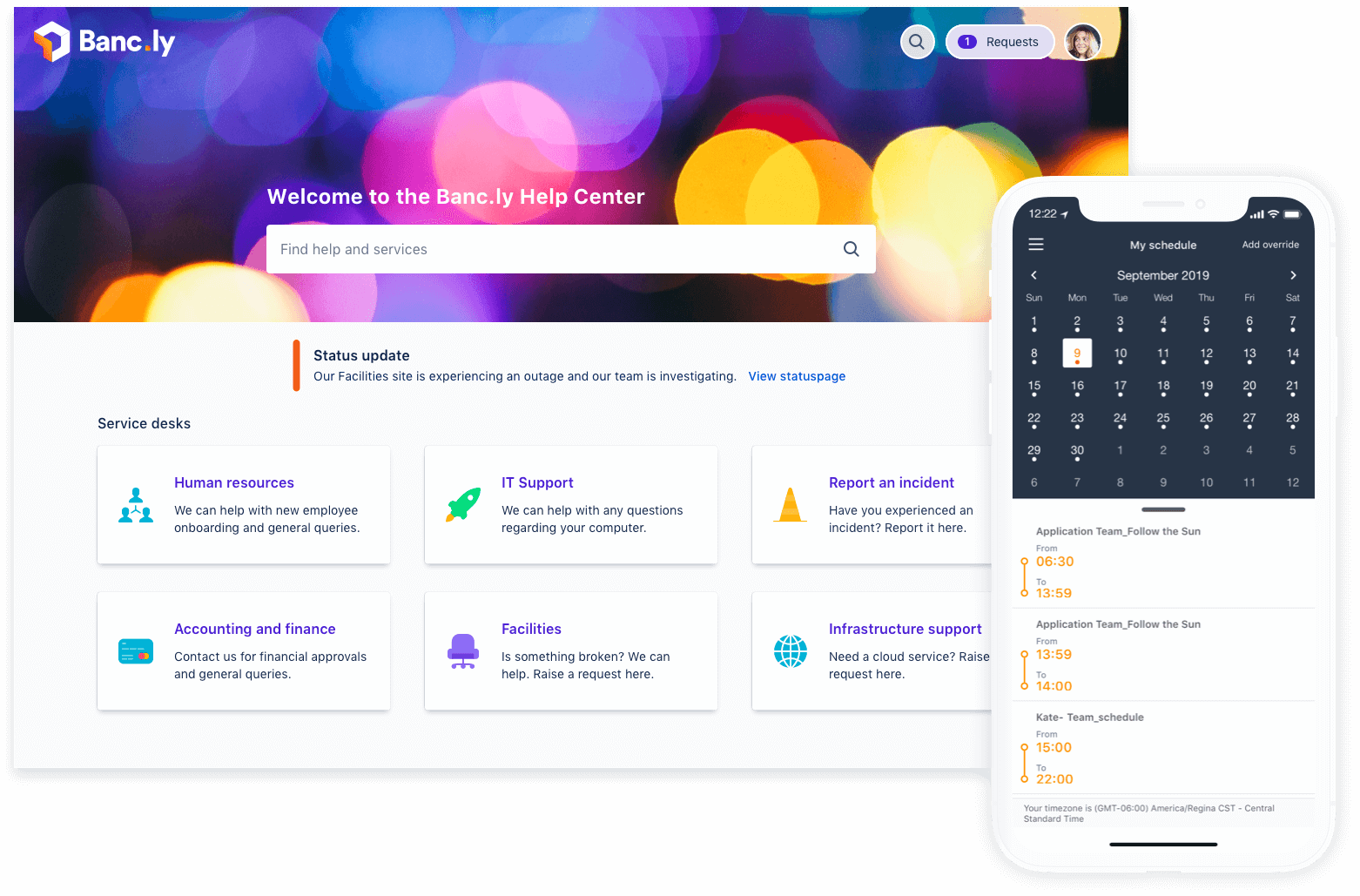 Ticket portal and phone with on call calendar