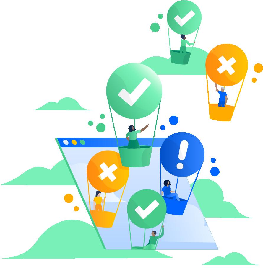 Balões de ar quente com diversos ícones de status, como de verificação, x ou ponto de exclamação