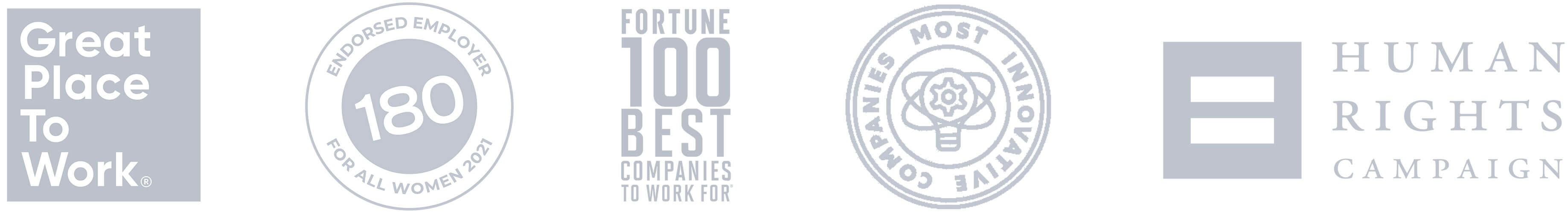 Awards logos: Great place to work, Fortune 100, Human rights campaign