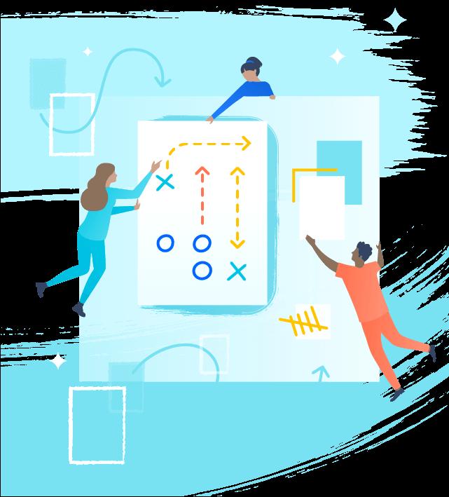 Ilustración de manual de estrategias del equipo