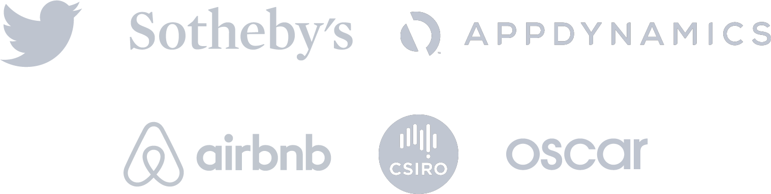 Customer logo icons: Twitter, Sotheby's, Appdynamics, airbnb, csiro and oscar