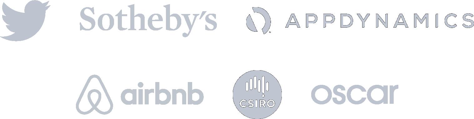 Customer logo icons: Twitter, Sotheby's, Appdynamics, airbnb, csiro and oscar