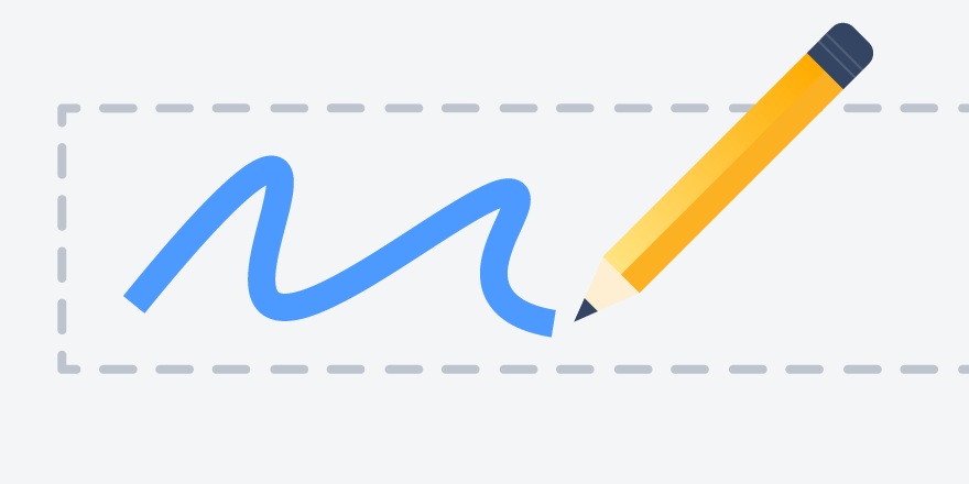 Illustration of a pencil filling in a form