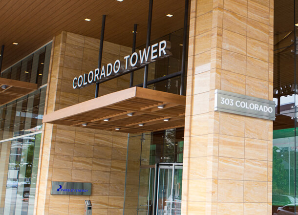Outside Colorado Tower in Austin
