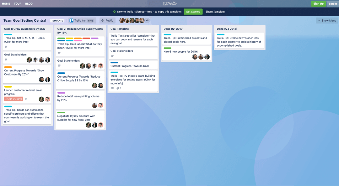 Trello goal setting board