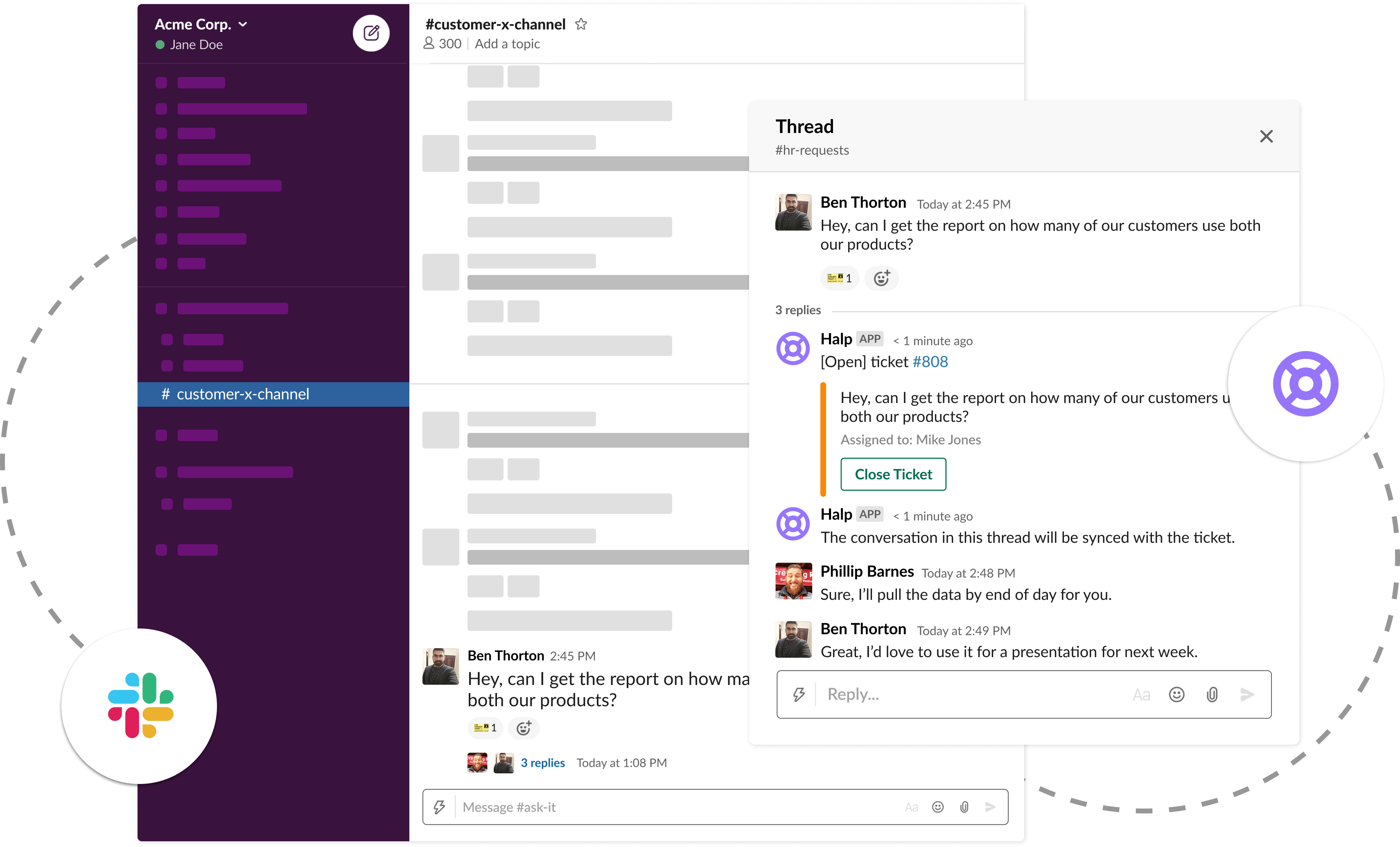 Slack-based ticketing for customer success channels