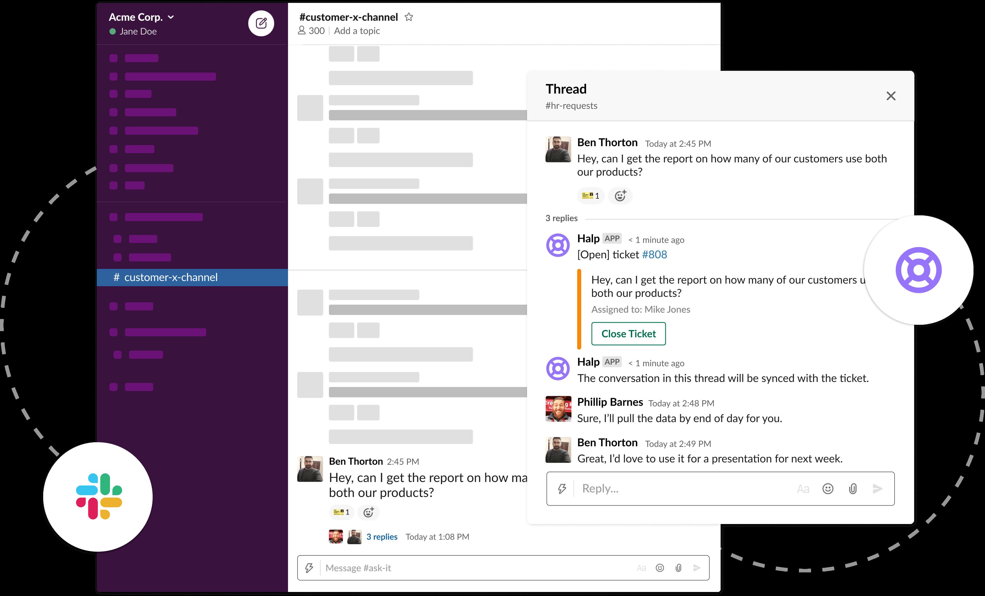 Slack-based ticketing for customer success channels