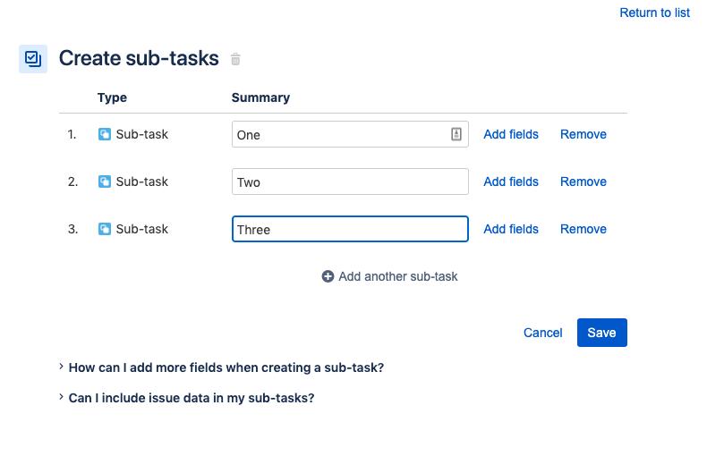 Create subtasks