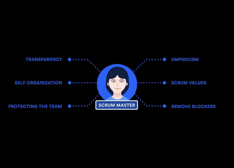 Ein Diagramm, das die Zuständigkeiten des Scrum Masters zeigt: Transparenz, Erkenntnisorientierung, Selbstorganisation, Scrum-Werte, Schutz des Teams, Entfernen von Blockern
