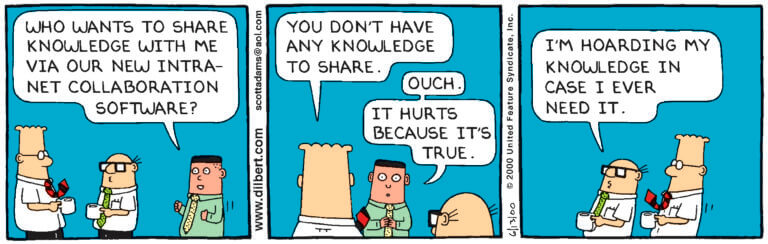 Dilbert comic strip about knowledge hoarding