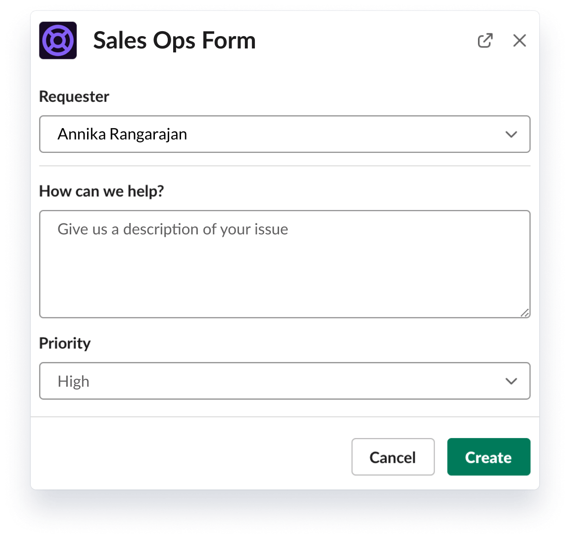 Sales ops form