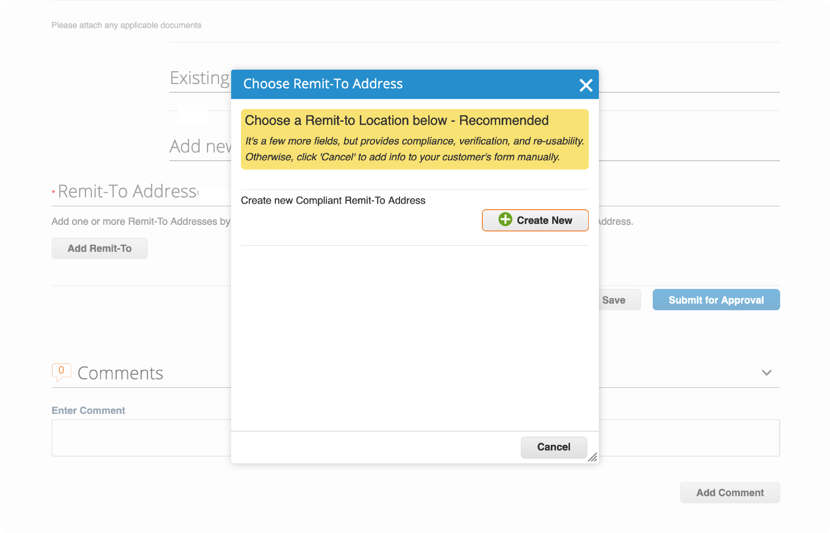 A pop-up box after clicking the click Add Remit-To button on the Supplier response on Coupa Supplier