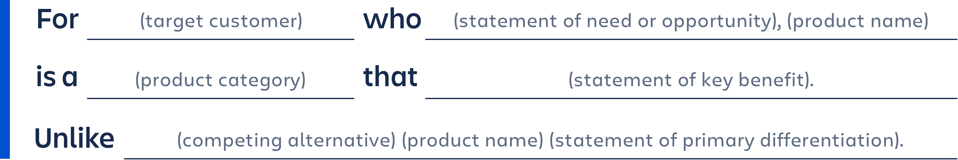 For (target customer) who (statement of nee or opportunity), (product name) is a (product category) that (statement of key benefit).