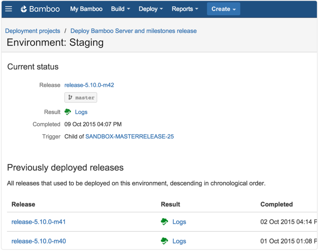 Screenshot: Staging-Releases in einer Bamboo-Umgebung