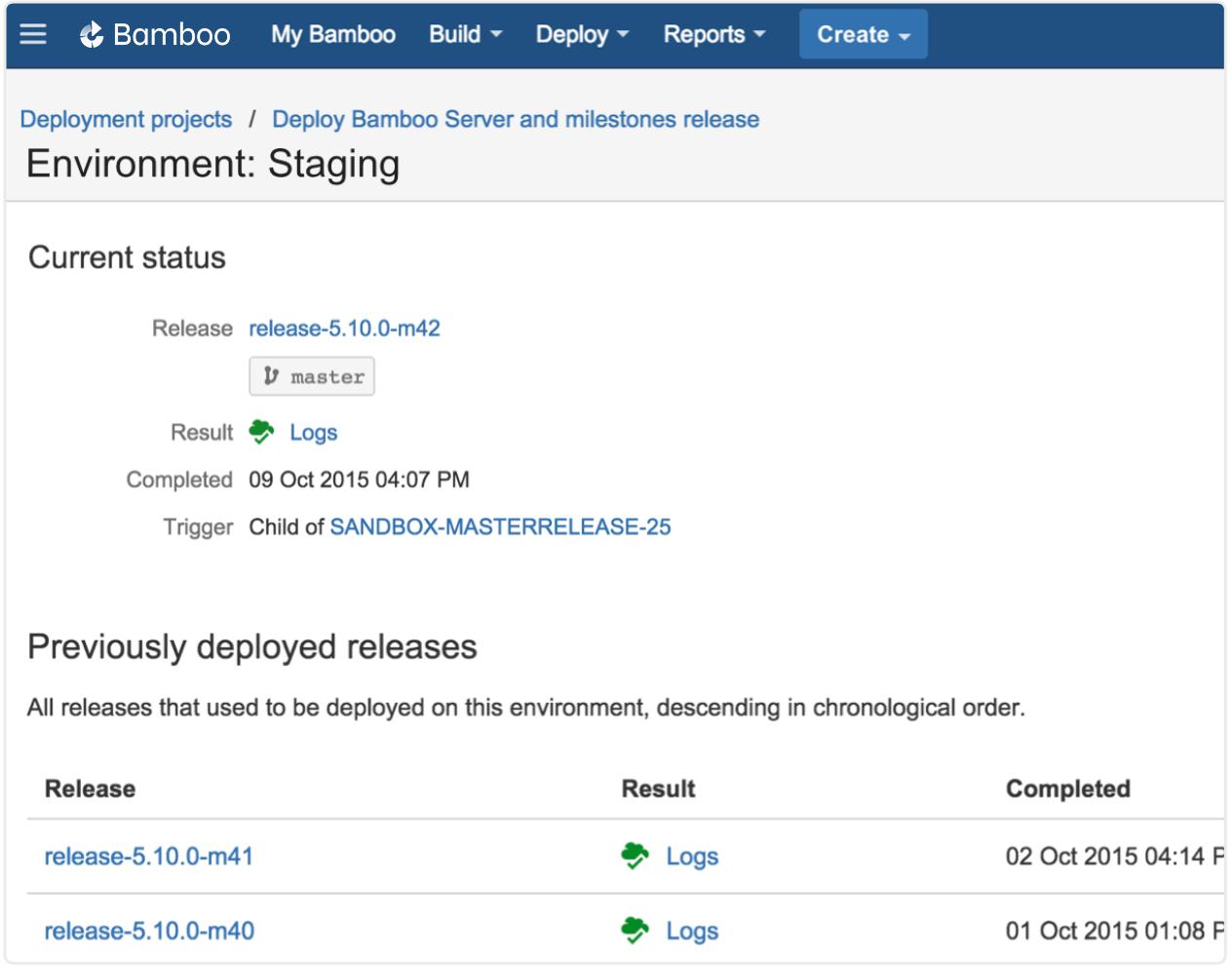 Capture d'écran des versions dans l'environnement de stagingBamboo