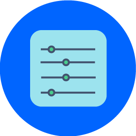 4 lines with slider points in different locations on a blue circular background