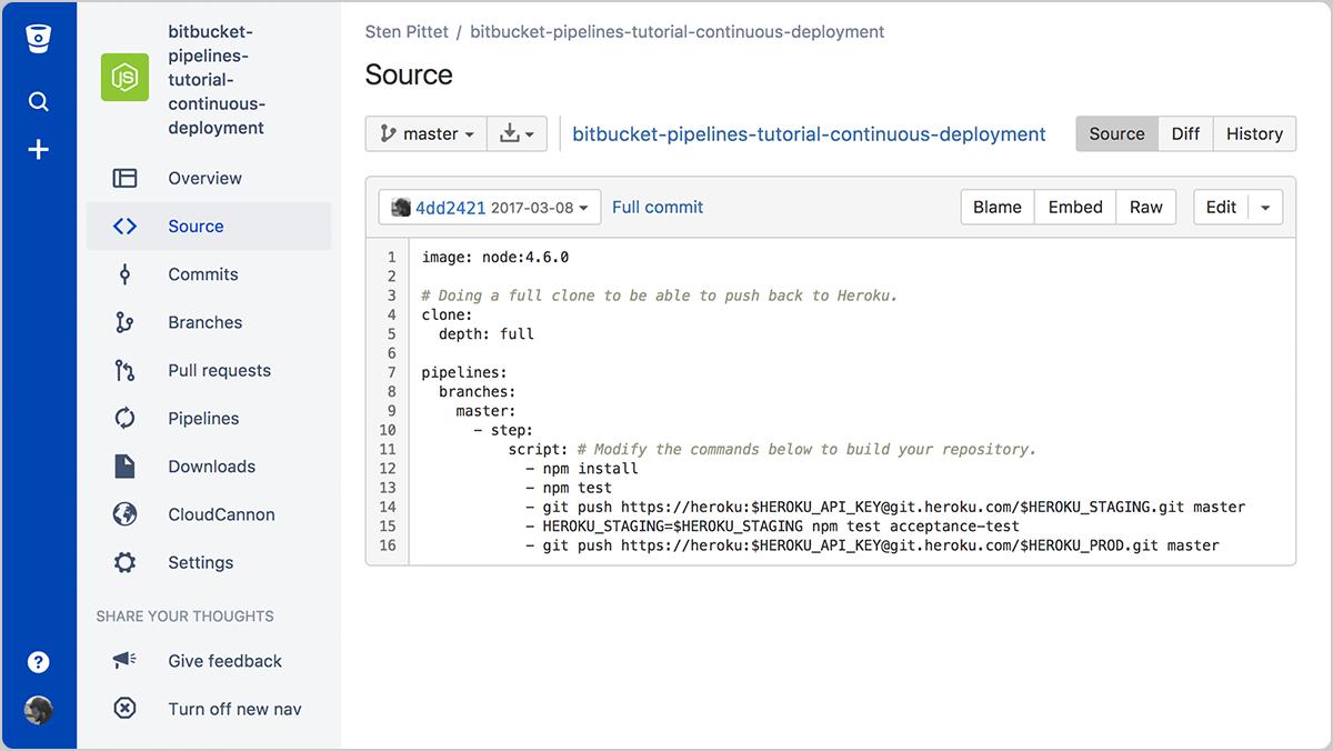 Um pipeline de implementação contínua com o Bitbucket | CI/CD da Atlassian