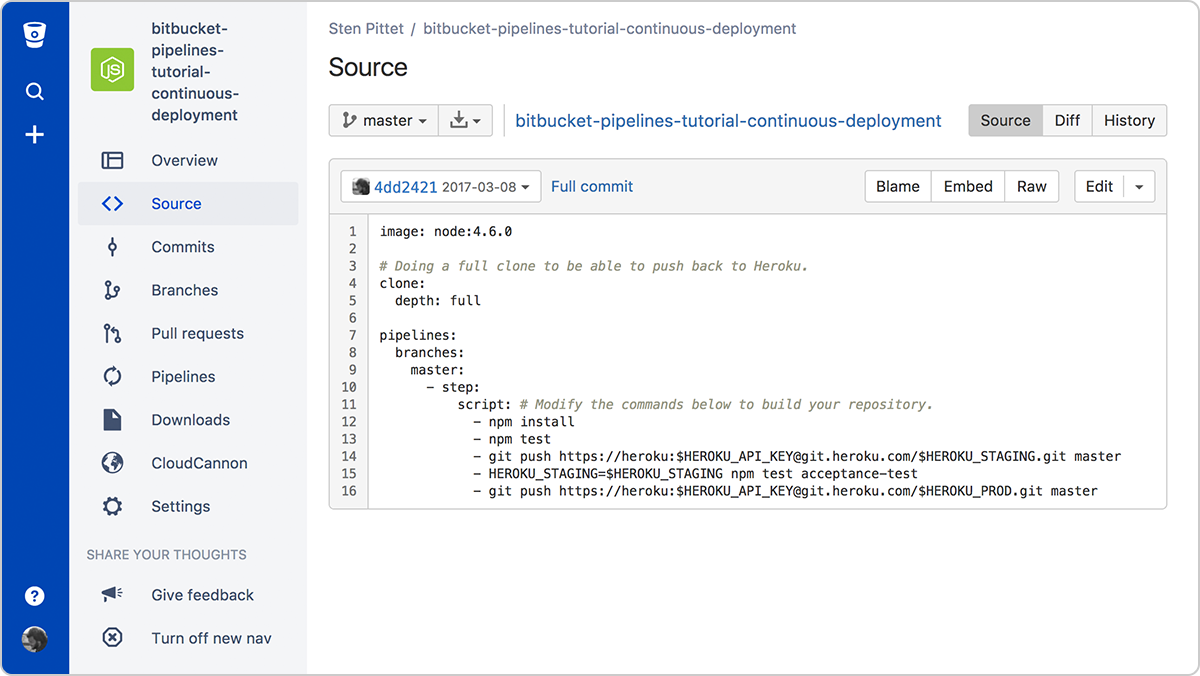 A continuous deployment pipeline with Bitbucket