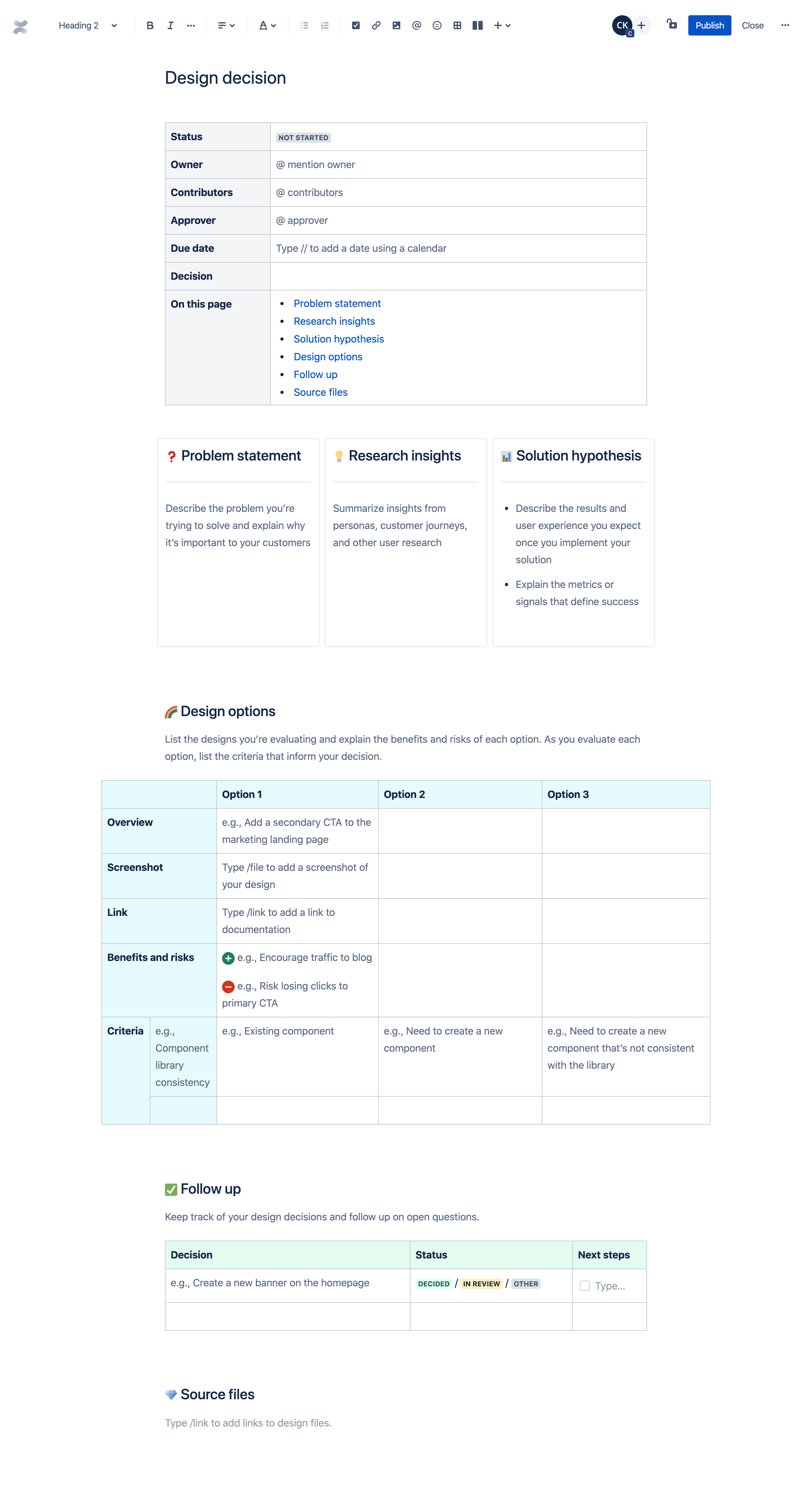 Design decision template