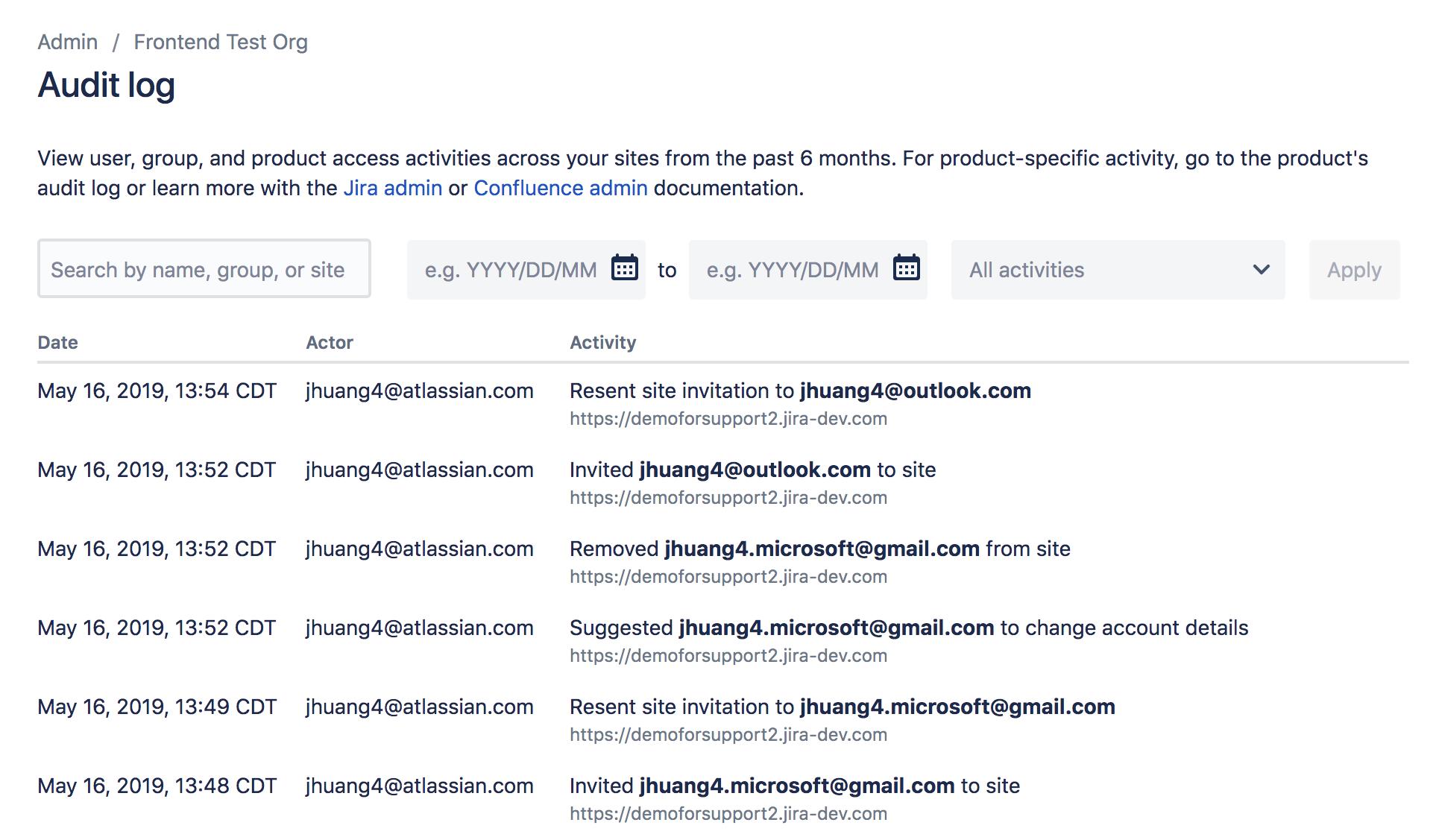 Captura de pantalla de registros de auditoría