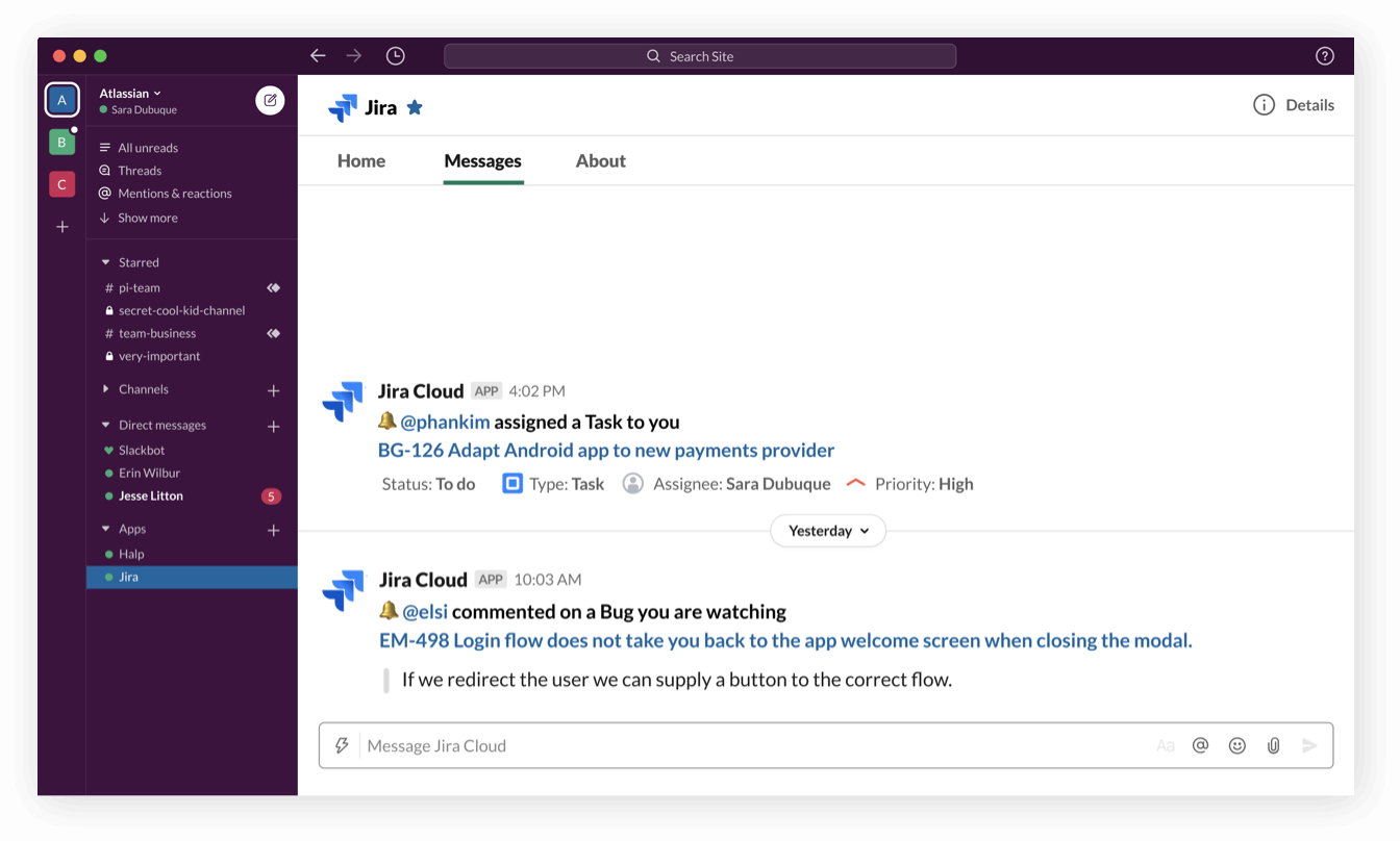 Notificaciones de Jira Software Cloud en Slack