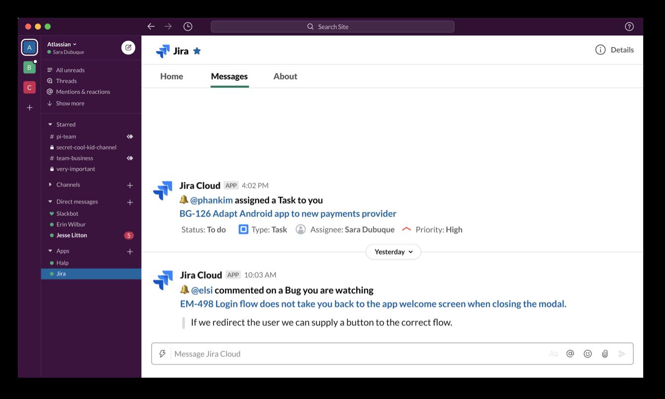 Notifiche di Jira Software Cloud in Slack