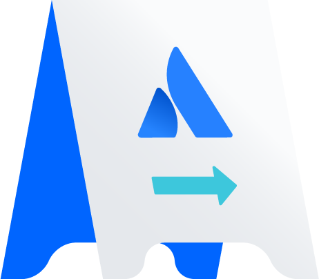 A-frame sign with Atlassian logo