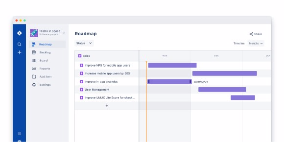 Image of a product roadmap in Jira