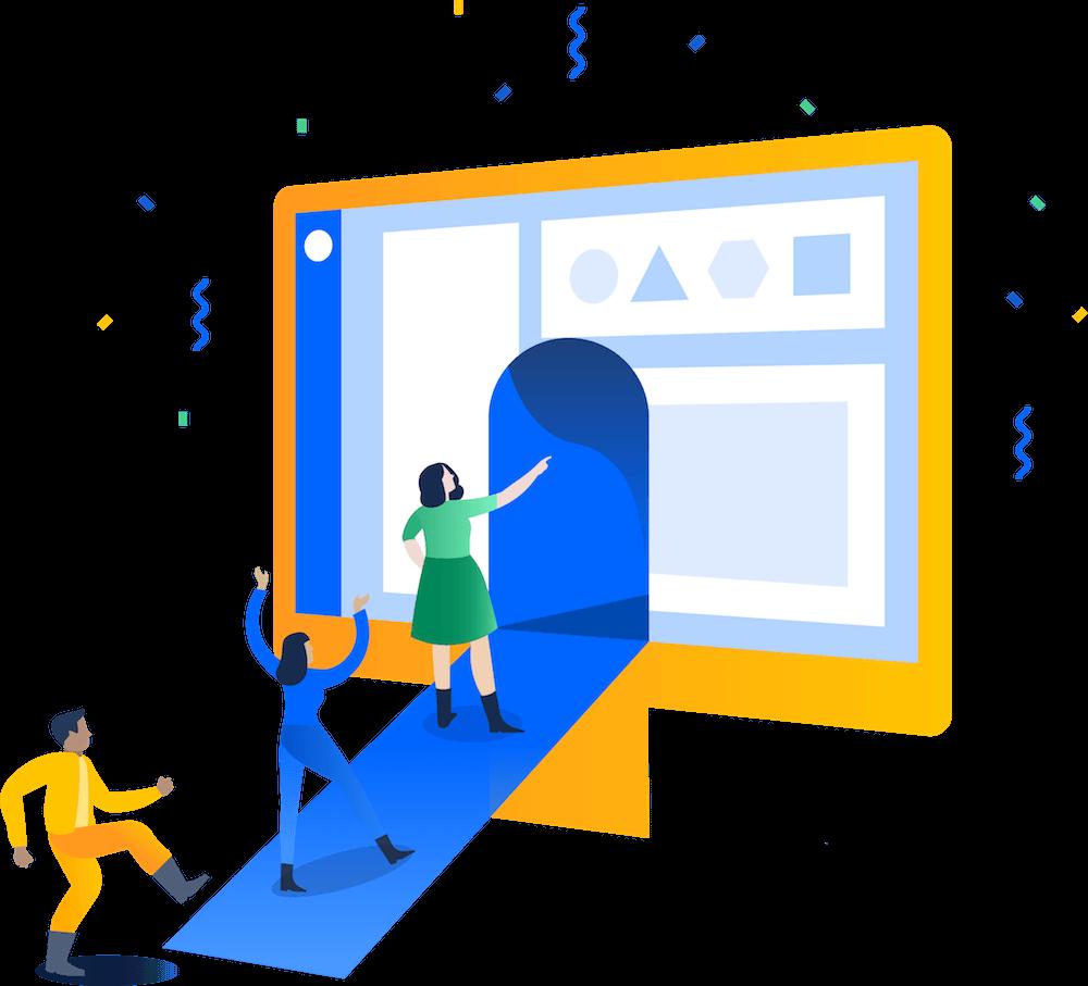 Illustrazione di persone che esplorano il software Jira visualizzato in un monitor