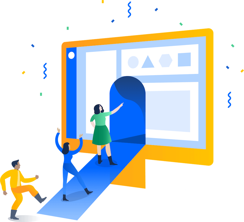 Ilustração de pessoas entrando em um monitor com o Jira exibido na tela