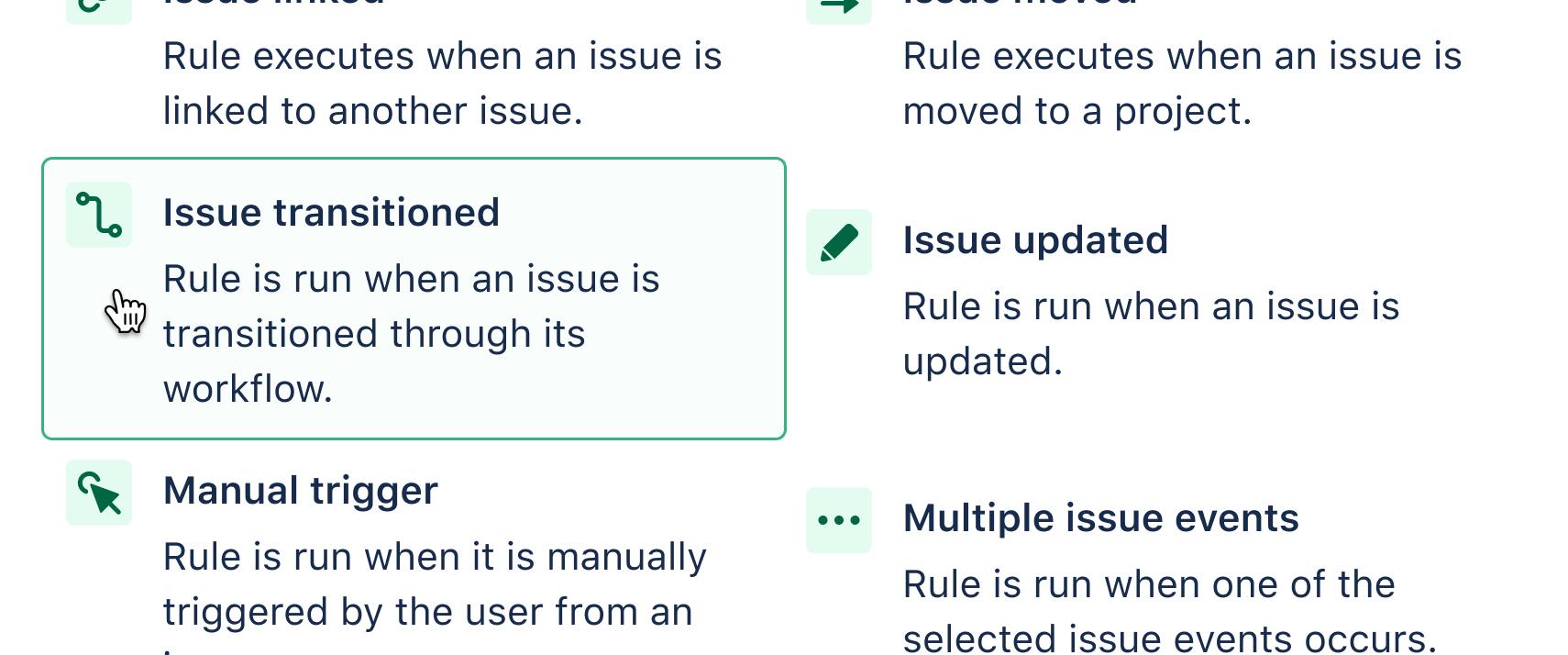 Choosing Issue transition trigger