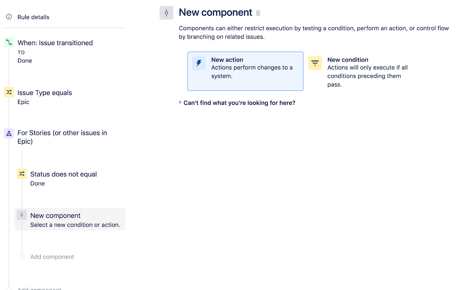 Selecting new action as a new component in Jira Software