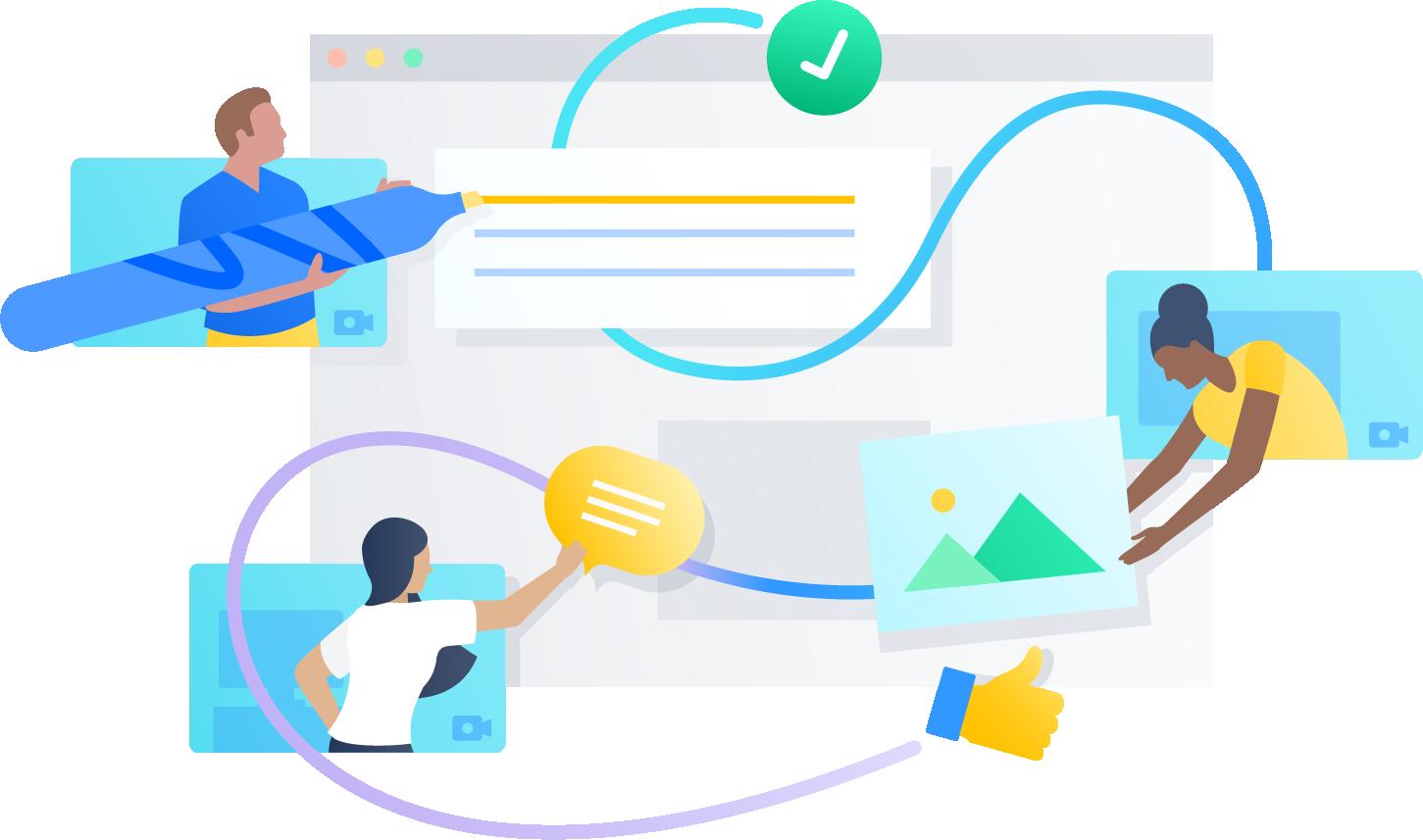 Ilustración de colaboración en proyectos