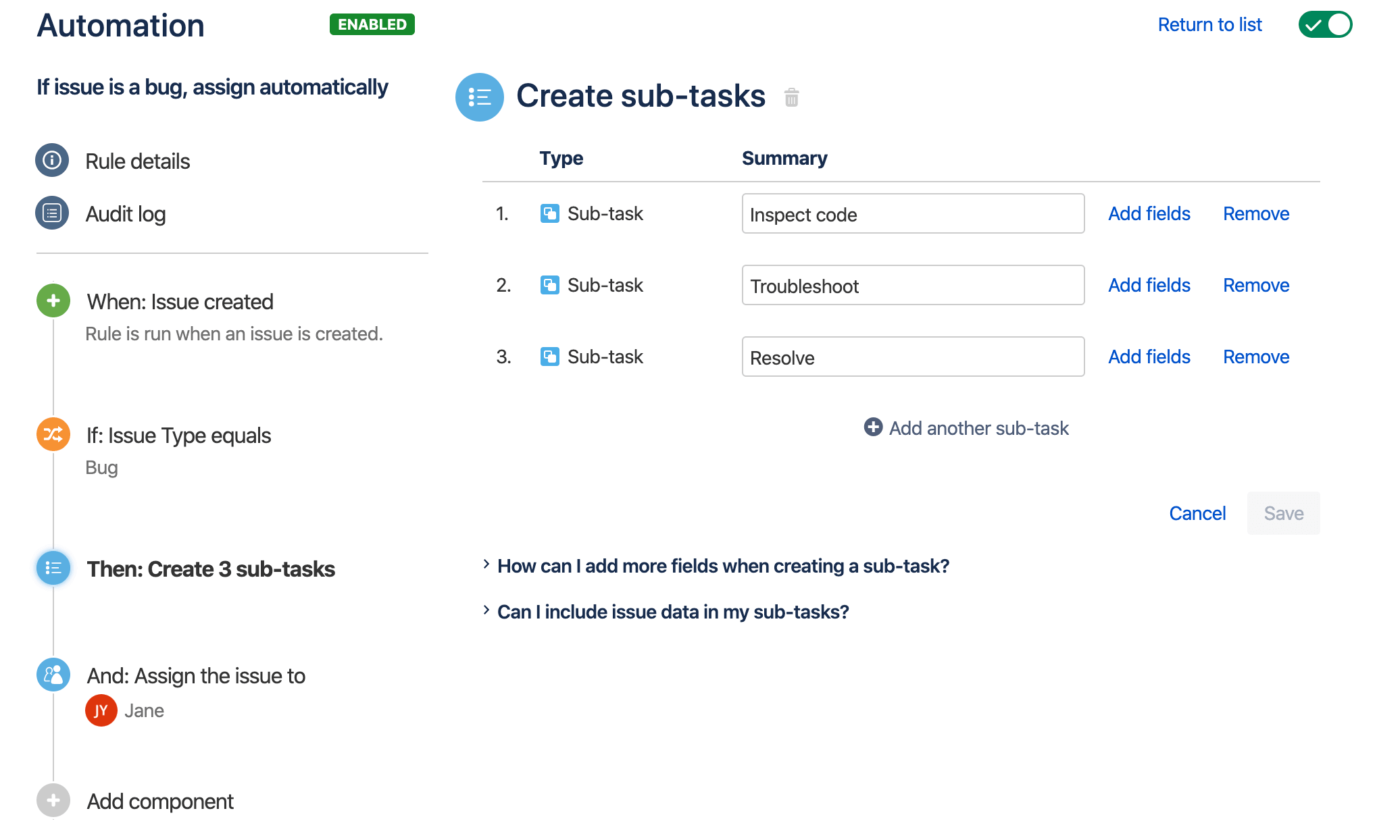 An example of the rule builder, displaying a simple rule to automatically add sub-tasks to any new bugs, and assign them to a user.